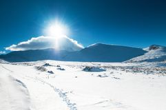 Mt. Erciyes volcano covered with snow in winter, Kayseri, Turkey. Mt. Erciyes volcano covered with snow  against the sun in winter, on a clear sky day Royalty Free Stock Photography
