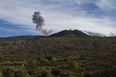 Mt. Etna, ash emission Stock Photo