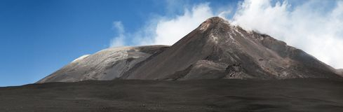 Mount Etna, Sicily. The landscape with the summit craters of Mount Etna, Sicily royalty free stock photos