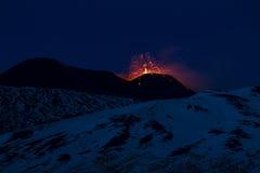 Mt. Etna Strombolian aktywność Obrazy Royalty Free