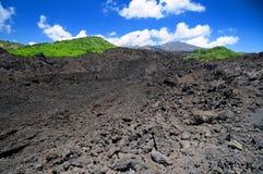 Mt Etna volcanic lava field stock photography