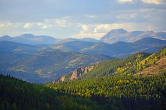 Mt. Evans Wilderness Area in Colorado with Colorful Fall Leaves stock photography