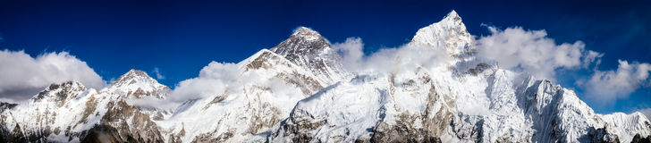 Mt. Everest, Changtse, Nuptse. Panorama seen from Kala Patthar Stock Photography
