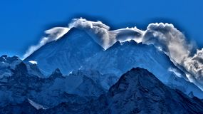 Mt. Everest, clouds over the highest peak in the woeld royalty free stock photo