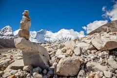 MT Everest en Mt lhotse Stock Afbeeldingen