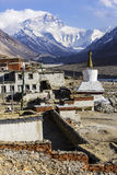 Mt. Everest and flannelette temple Stock Image