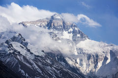 Mt. Everest and flannelette temple Royalty Free Stock Photo