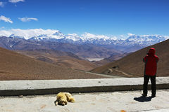 Mt. Everest and flannelette temple Stock Photo