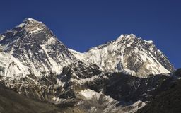 Mount Everest South Col and Hillary Step in Himalaya Mountains. Mt. Everest: Highest mountain on Earth viewed from Scoundrel Ridge above fifth Gokyo Lake, Nepal stock images