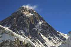 Mount Everest South Col and Hillary Step in Himalaya Mountains. Mt. Everest: Highest mountain on Earth viewed from Scoundrel Ridge above fifth Gokyo Lake, Nepal stock photography