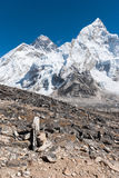 Mt. Everest from Kala Pala Patthar, Nepal. View of Everest and Nuptse Stock Images