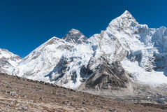 Mt. Everest from Kala Pala Patthar, Nepal. View of Everest and Nuptse from the Kala Patthar summit Royalty Free Stock Photography
