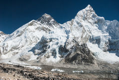 Mt. Everest and Nuptse, Nepal. Mt. Everest, Nuptse and Khumbu Glacier from the Kala Patthar summit, Nepal Stock Images