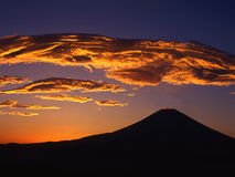 Mt fuji-157. Giant orange clouds hanging over Mount Fuji Stock Images