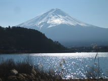 Mt. Fuji. Picturesque view of Mount Fuji on a sunny day from across Lake Kawaguchi or Kawaguchiko stock photos