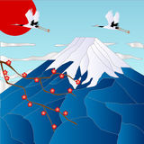 Mt Fuji. Illustration of the luck of the crane and the Fuji and plum Royalty Free Stock Image