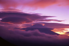 Mt,Fuji-354. Fiery sunrise over the silhouette of sacred Fuji Royalty Free Stock Image