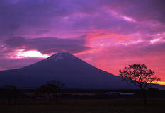 Mt fuji. A fiery sunrise over the silhouette of sacred Fuji Royalty Free Stock Images