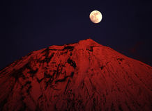 Mt fuji. The sunset shine at Mt fuji and full moon rise Royalty Free Stock Images