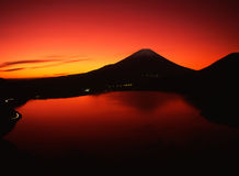 Mt fuji. Spectacularly glowing red sky over Mount Fuji Royalty Free Stock Image