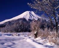Mt fuji-478. Snowfall early morning view Mt,Fuji from Yamanaka park Royalty Free Stock Images