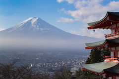 Mt. Fuji aerial viewed from behind red Chureito Pagoda Stock Images
