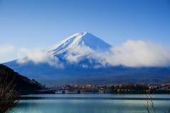 Mt.Fuji and autumn foliage at Lake Kawaguchi. Japan Stock Image