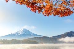 Mt. Fuji in autumn Japan. Mt. Fuji in autumn at Kawaguchiko or lake Kawaguchi with snow in Fujikawaguchiko Japan stock image