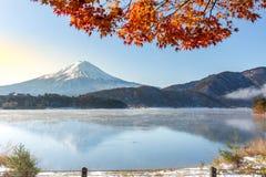 Mt. Fuji in autumn. At Kawaguchiko or lake Kawaguchi in Fujikawaguchiko Japan stock photos