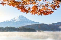 Mt. Fuji in autumn. At Kawaguchiko or lake Kawaguchi in Fujikawaguchiko Japan stock photography