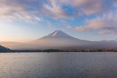 Mt. Fuji with beautiful sky and cloud. At Lake Kawaguchi, Japan stock photos