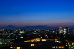 Mt.Fuji bij schemer Royalty-vrije Stock Foto
