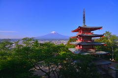 Mt.Fuji of the blue sky from Arakurayama Sengen Park in Fujiyoshida City Japan stock photo