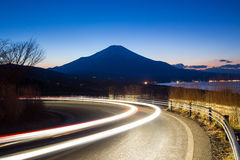 Mt. Fuji and Car light trails. Royalty Free Stock Images