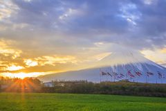 Mt. Fuji and carp streamer Stock Photo