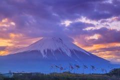 Mt. Fuji and carp streamer. Sunrise Mt. Fuji and carp streamer, Shizuoka, Japan Stock Photography