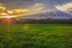Mt. Fuji and carp streamer. Sunrise Mt. Fuji and carp streamer, Shizuoka, Japan Royalty Free Stock Photo