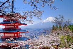 Mt Fuji and Cherry Blossom  in Japan Spring Season Japanese Cal. L Sakura  Selective Focus Stock Images