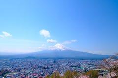 Mt Fuji and Cherry Blossom  in Japan Spring Season (Japanese Cal. L Sakura ) Selective Focus Stock Photo