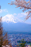 Mt Fuji and Cherry Blossom  in Japan Spring Season & x28;Japanese Cal Royalty Free Stock Photography
