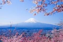 Mt. Fuji With Cherry Blossom (Sakura )in Spring, Fujiyoshida, Ja Royalty Free Stock Photo