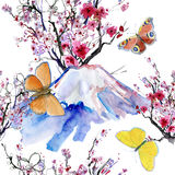 Mt Fuji, Cherry Blossom y mariposas stock de ilustración