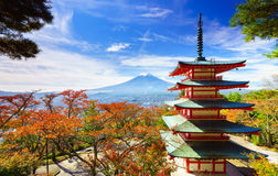 Mt. Fuji with Chureito Pagoda, Fujiyoshida, Japan Stock Photos