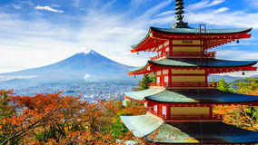 Mt. Fuji with Chureito Pagoda, Fujiyoshida, Japan. Mt. Fuji with Chureito Pagoda in autumn, Fujiyoshida, Japan Stock Images
