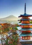 Mt. Fuji with Chureito Pagoda, Fujiyoshida, Japan Stock Image