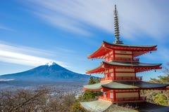 Mt. Fuji with Chureito Pagoda Stock Images