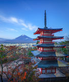 Mt. Fuji with Chureito Pagoda, Fujiyoshida, Japan. Mt. Fuji with Chureito Pagoda at night, Fujiyoshida, Japan Stock Photos