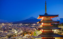 Mt. Fuji with Chureito Pagoda, Fujiyoshida, Japan. Mt. Fuji with Chureito Pagoda at night, Fujiyoshida, Japan Royalty Free Stock Photos