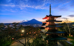 Mt. Fuji with Chureito Pagoda, Fujiyoshida, Japan. Mt. Fuji with Chureito Pagoda at night, Fujiyoshida, Japan Royalty Free Stock Photo