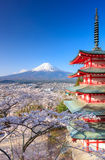 Mt. Fuji with Chureito Pagoda, Fujiyoshida, Japan Royalty Free Stock Photo